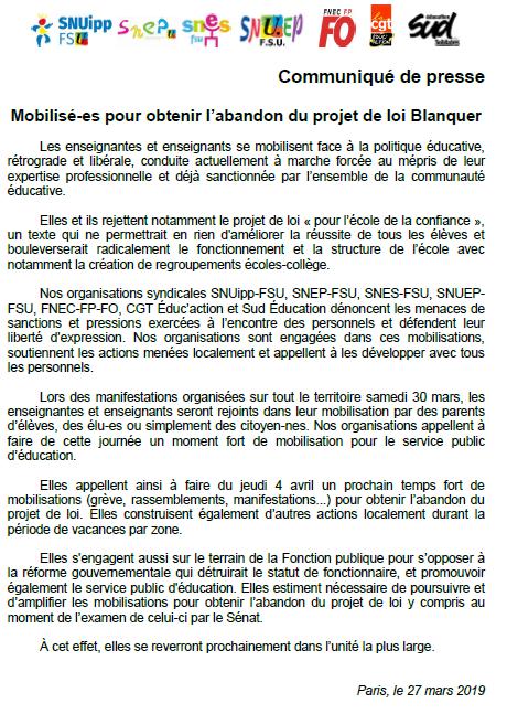 96cd415df30 Le SNES-FSU Créteil appelle les personnels à la grève ! Manifestons contre  la loi ...